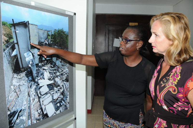 House Mother, Delores Bailey and Board Member, Tanya Wildish looking at the fire damage.