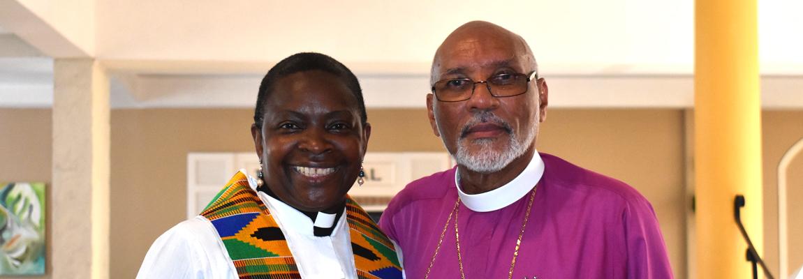 Diocesan Bishop Howard Gregory and Rev. Rose Hudson-Wilkin, Chaplain to Queen Elizabeth II